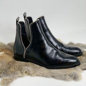 ZARA Black Leather Chelsea Boots